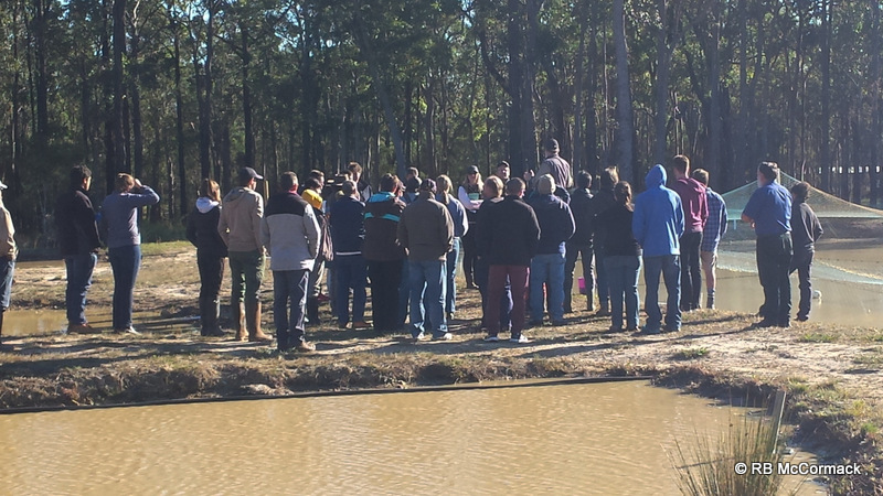 Rob McCormack explaining yabby farming to attendants